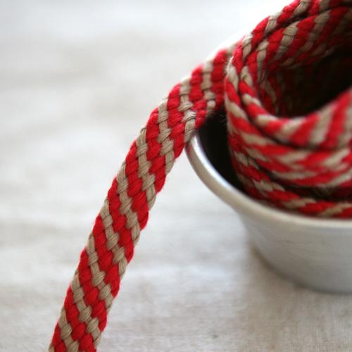 NE/S/1마단위] Red & Beige Twist cotton string