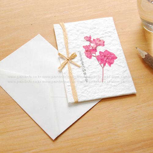 GI/누름꽃카드-제비고깔 분홍