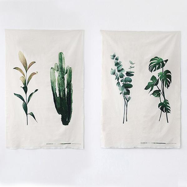 NE/1컷] 에어컨 커트지_Greenery cut Linen (초록잎 컷트지)
