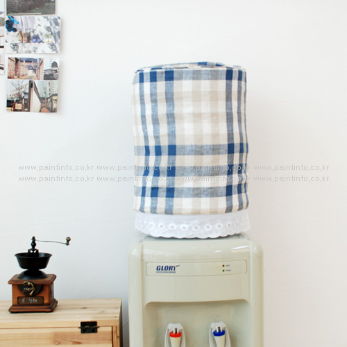 냉온수기 물통커버 블루체크