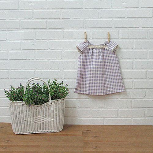 NE/Lovely Square Shirring Blouse For Kids-도안