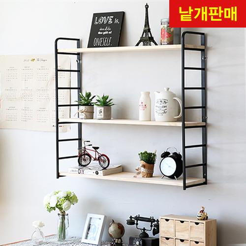 폼폼DIY 모던 아이언 8단 벽선반 (미송집성목)