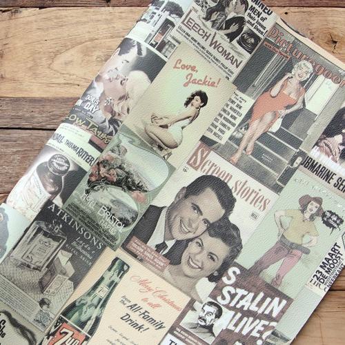 "NE/컷당판매]엠보가죽원단 ""Vintage Poster 20종"" design leather"