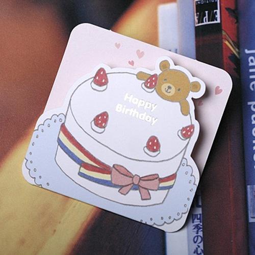 생일케익 곰카드