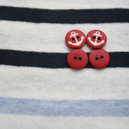 NE/Marine Red Button-13mm (5개 셋트)