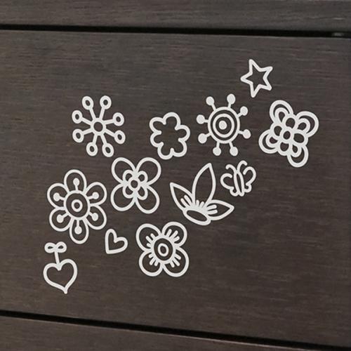 미니꽃 (꽃과장식12개)/그래픽스티커 월데코 DIY리폼 시트지 월데코