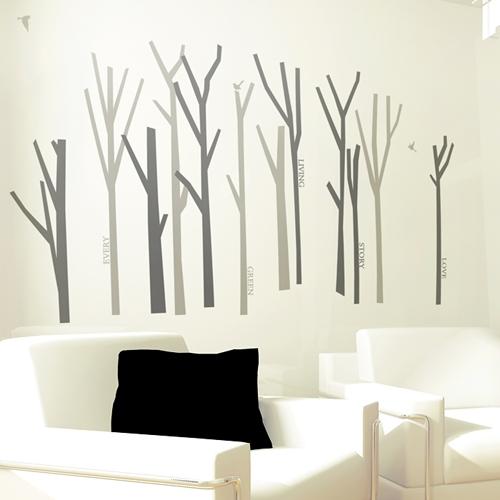 나무숲 (나무 12그루) 그래픽스티커 포인트 시트지 스티커벽지