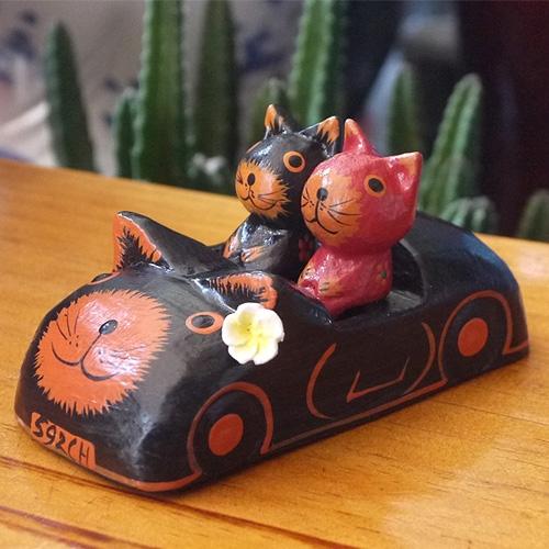 고양이 택시 세트-발리목각고양이
