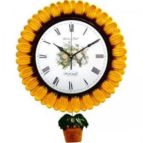 해바라기 화분 추 꽃 벽시계(무소음)GB2025