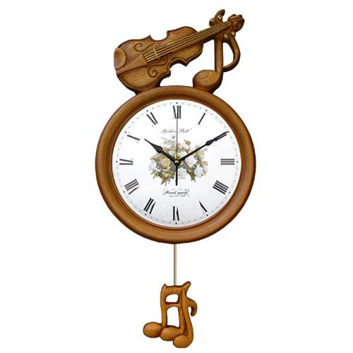 고급인테리어 바이올린 꽃벽시계(무소음)GB2055
