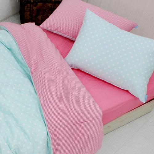 트윌 하늘도트 핑크 침구세트