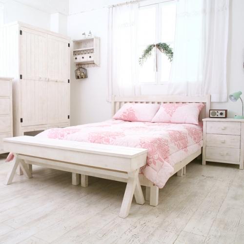 뉴질랜드소나무 퀸침대(white)