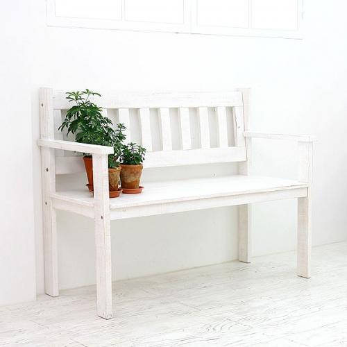 뉴질랜드소나무 W110등벤치(white)