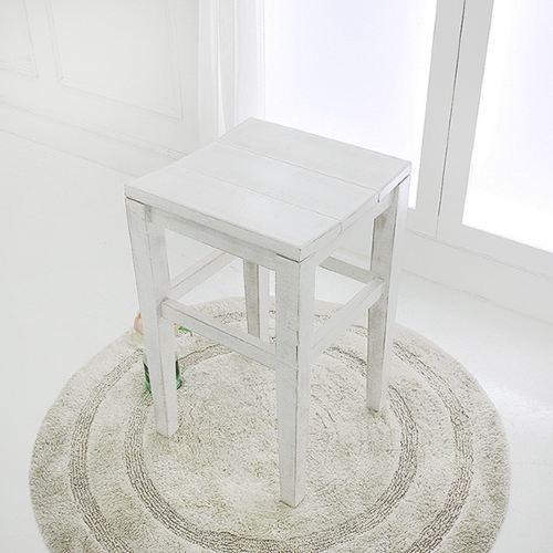 뉴질랜드소나무 아일랜드형 키높은 사각스툴(white)