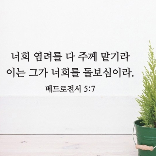 S63 성경 레터링_베드로전서 5장7절