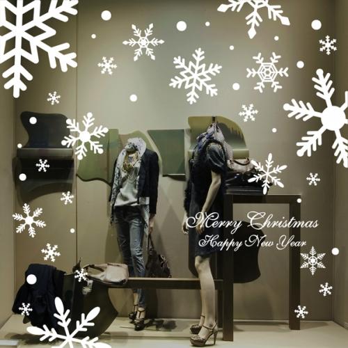 cmi241-화이트 눈꽃결정-크리스마스스티커
