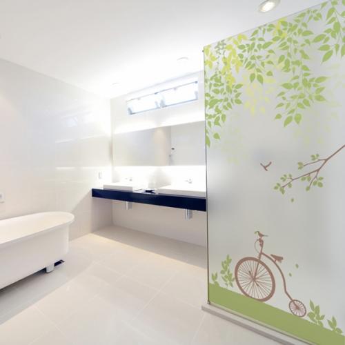 ncdr012-클래식 자전거와산책-샤워부스 유리문시트지