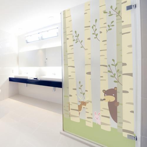 ncdr055-아름다운 자작나무숲-샤워부스 유리문시트지