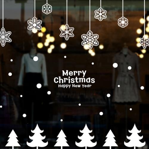 cmi287-눈꽃결정과 작은트리-크리스마스스티커