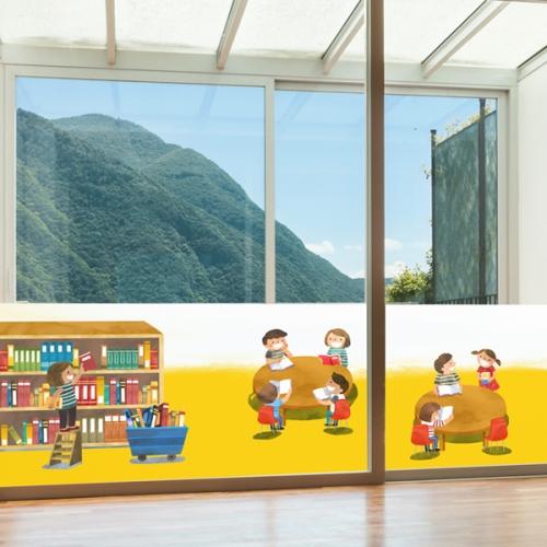 nang551-행복한 도서관-뮤럴실사 시트지