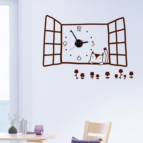 jkc026-창가 위 작은 고양이_그래픽시계