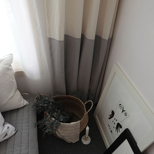 two tone curtain - grey