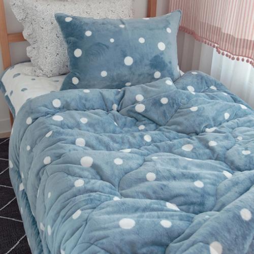 도트 극세사 침구-블루
