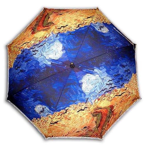 Hello RainCats 고흐_까마귀나는 밀밭(W) 자동우산