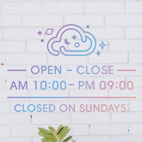 홀로그램 영업시간 오픈클로즈스티커 - 클로미