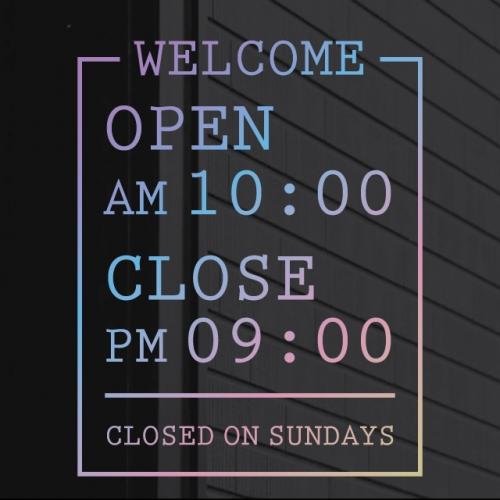 홀로그램 영업시간 오픈클로즈스티커 - 데노