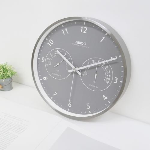 그레이메탈무소음온습도벽시계