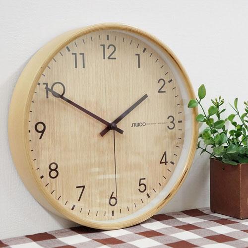 심플우드벽시계