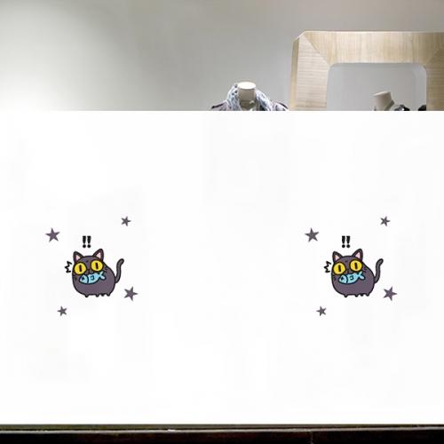 [불투명 창문시트]해피캣 08