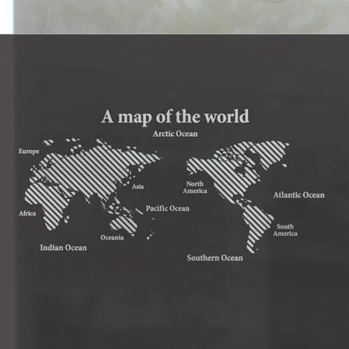 [컬러 안개시트]블랙 사선 세계지도