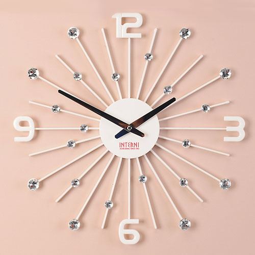 [무소음]크리스탈 눈꽃 시계 -화이트