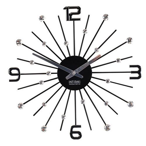 [무소음]크리스탈 눈꽃 시계 -블랙
