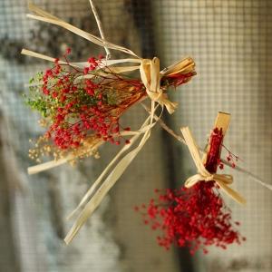 안개꽃다발 집게(색상랜덤)