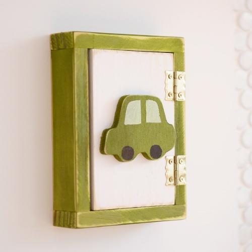 자동차 원목 스위치커버(그린)