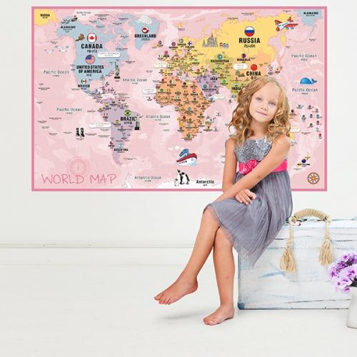[꼼지락닷컴]초간편어린이세계지도-C1402(핑크)