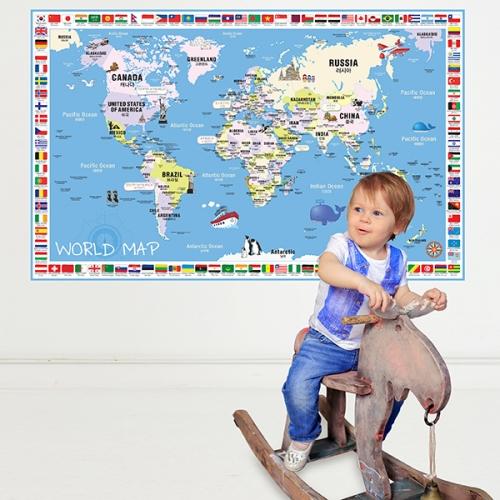 [꼼지락닷컴]초간편어린이국기세계지도-C1501(블루)