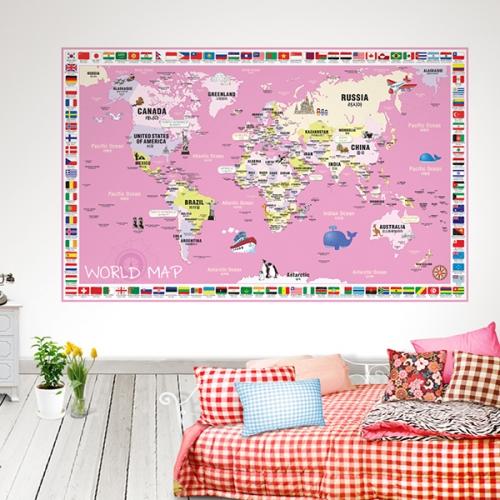 [꼼지락닷컴]초간편어린이국기세계지도-C1502(핑크)
