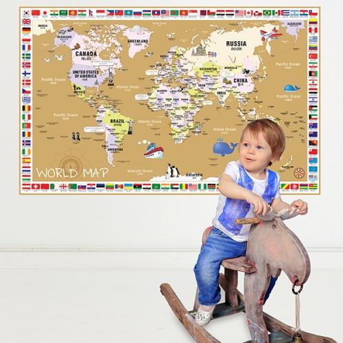 [꼼지락닷컴]초간편어린이국기세계지도-C1503(브라운)