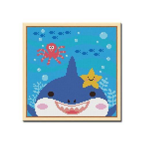 DIY 액자형 보석십자수_[D232] 상어와 친구들