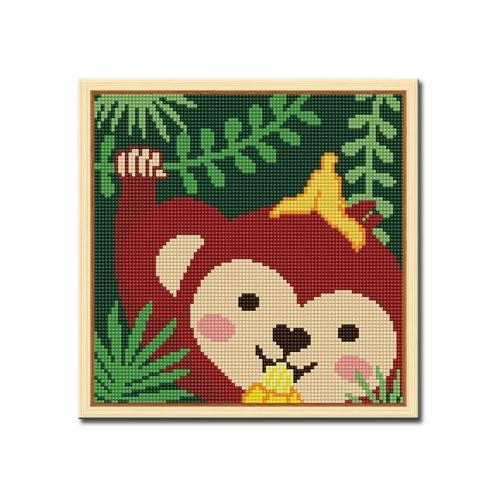 DIY 액자형 보석십자수_[D240] 바나나 원숭이