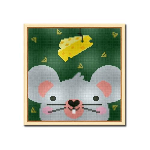 DIY 액자형 보석십자수_[D245] 치즈사랑 생쥐