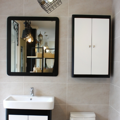 원목 라운딩 거울(블랙)