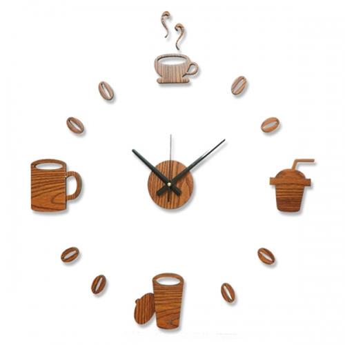 접착식 벽시계(커피 우드)-T