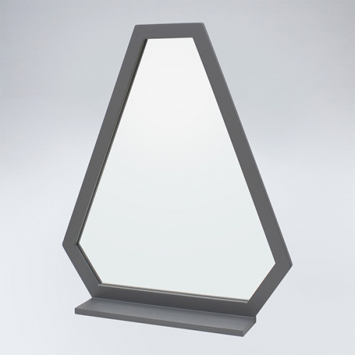 트라이앵글 원목 선반형 거울(그레이)