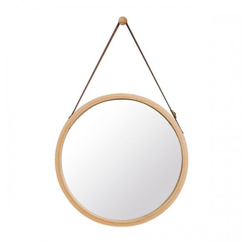 대나무 스트랩 원형 거울(네츄럴)