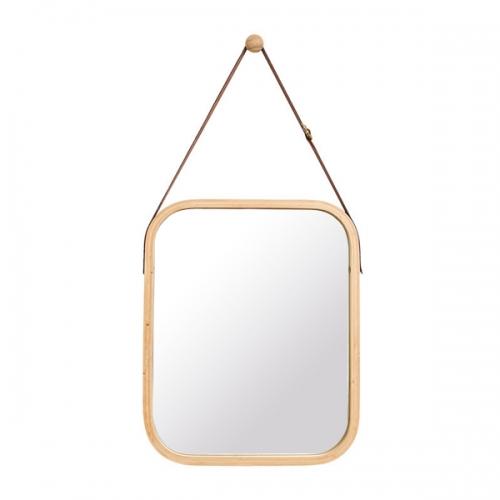 대나무 스트랩 라운드 사각 거울(네츄럴)